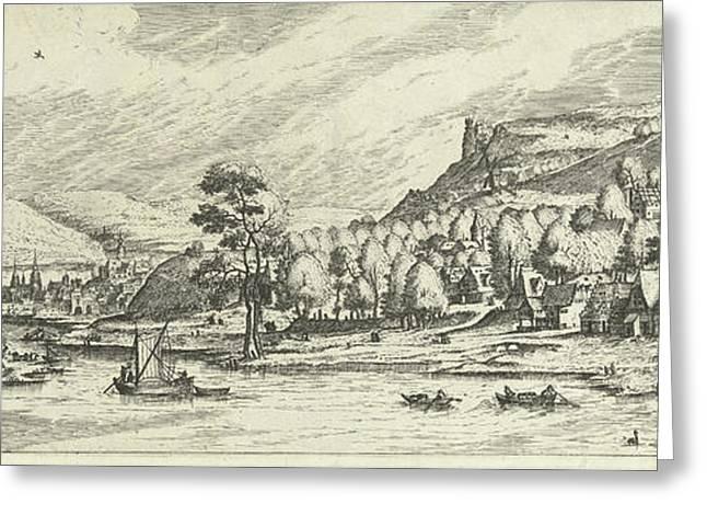 River Landscape, Print Maker Johannes Of Lucas Van Doetechum Greeting Card