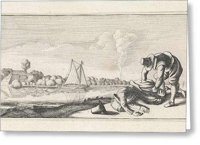 River Landscape With A Dead Man Who Robbed Greeting Card
