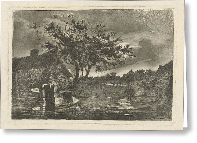 River Landscape With A Dilapidated Farmhouse Greeting Card by Fran?ois Joseph Pfeiffer (ii)