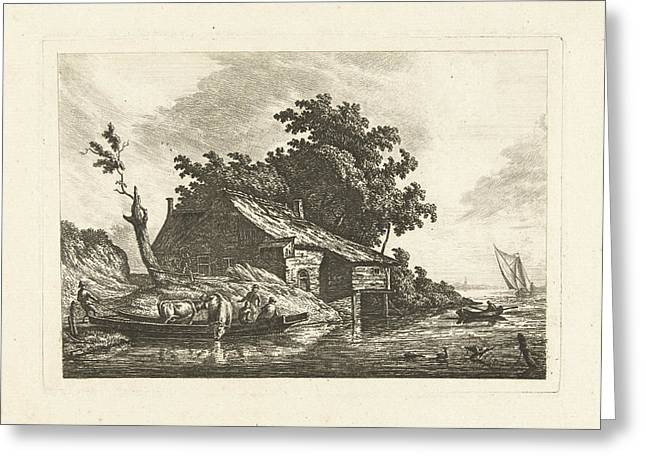 River Landscape With A Ferry, Johannes Van Cuylenburgh Greeting Card
