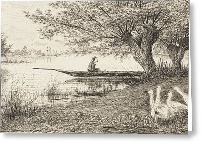 River Landscape With A Man In A Boat And Geese On The Bank Greeting Card