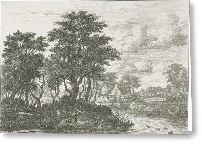River Landscape With An Angler, Hermanus Jan Hendrik Van Greeting Card