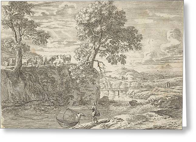 River Landscape With Cows, Anonymous, Herman Van Swanevelt Greeting Card