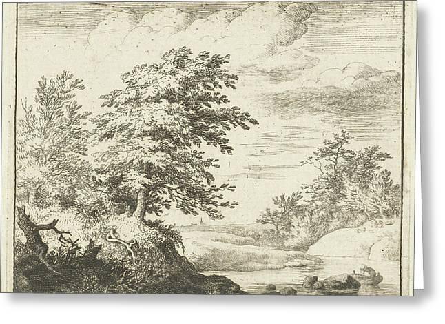 River Landscape With Rowboat, Print Maker Allaert Van Greeting Card