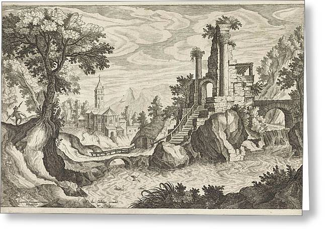 River Landscape With Ruins, Monogrammist Hsv Greeting Card by Monogrammist Hsv And Justus Sadeler