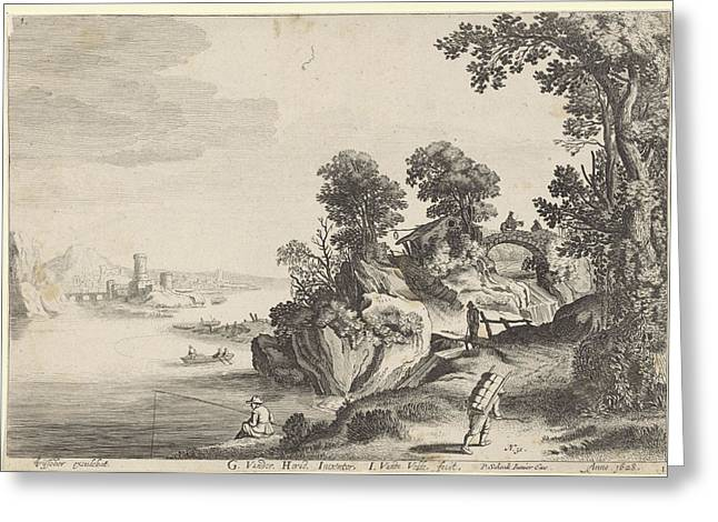 River Landscape With Travelers On Country Road Greeting Card by Jan Van De Velde (ii) And Pieter Schenk (ii)