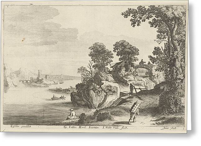 River Landscape With Travelers On Country Road Greeting Card