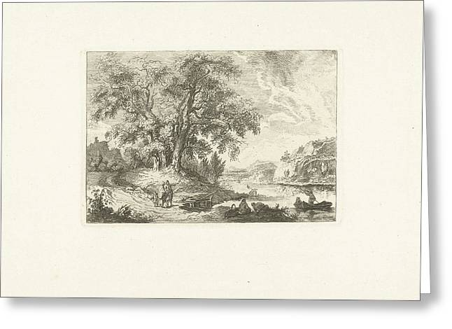 River Landscape With Waiting People At A Crosswalk Greeting Card
