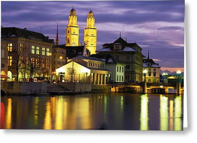River Limmat Zurich Switzerland Greeting Card