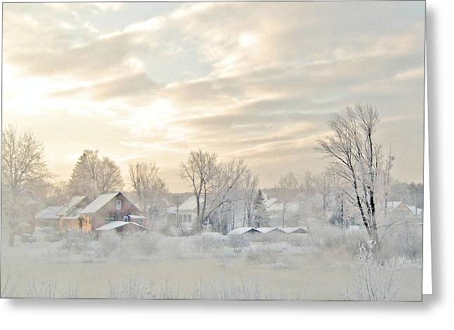 River Mist On A Very Cold New Hampshire Morning Greeting Card