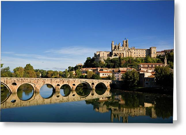 River Orb And St Nazaire Cathedral Greeting Card by Panoramic Images
