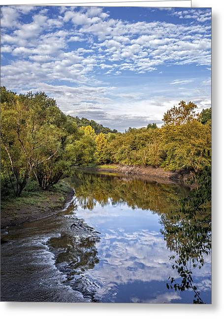 River Reflections Greeting Card by Debra and Dave Vanderlaan