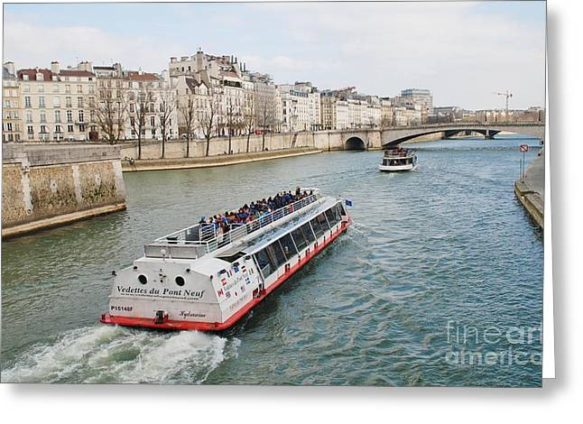 River Seine Excursion Boats Greeting Card