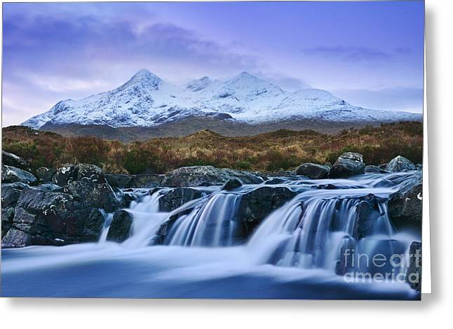 Waterfall And The Cuillins Greeting Card