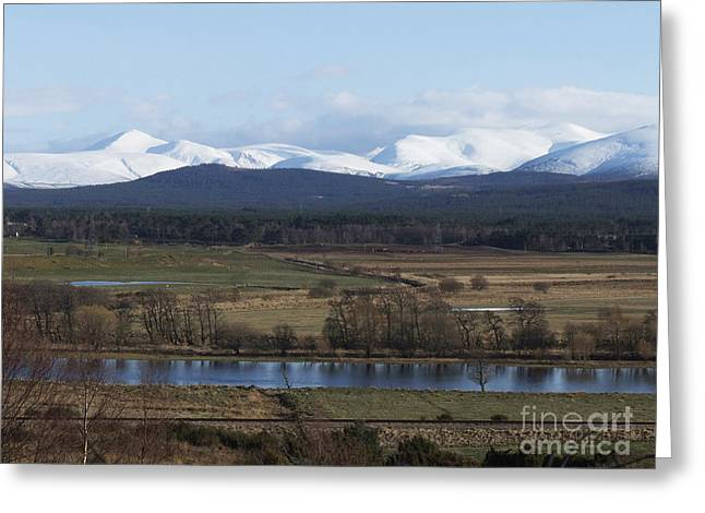 Greeting Card featuring the photograph River Spey And Cairngorm Mountains by Phil Banks