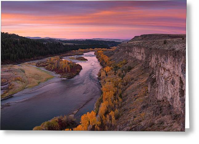 River Sunrise Greeting Card by Leland D Howard