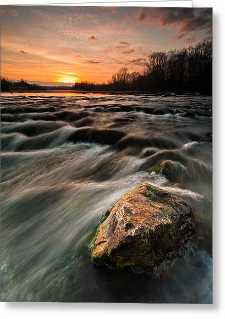 River Sunset Greeting Card by Davorin Mance