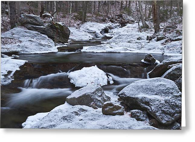 River-vermont-first Snow-forest-waterfall-trees Greeting Card by Andy Gimino