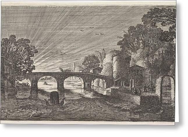 River View At Sunset, Jan Van De Velde II Greeting Card