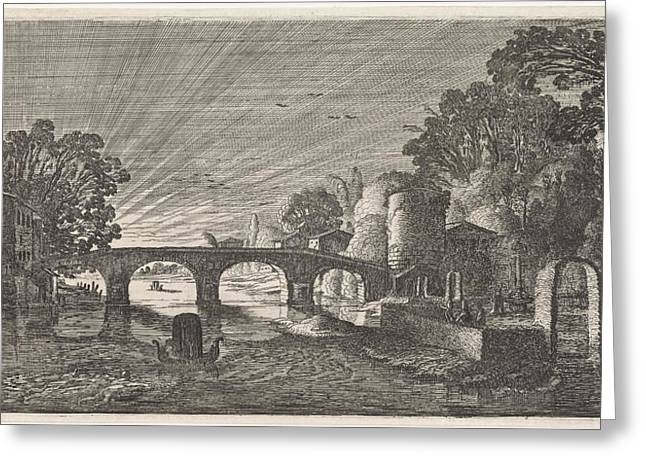 River View At Sunset, Jan Van De Velde II Greeting Card by Jan Van De Velde (ii)