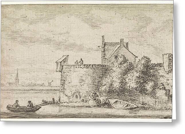 River View With A Rampart, Print Maker Hendrik Spilman Greeting Card by Hendrik Spilman