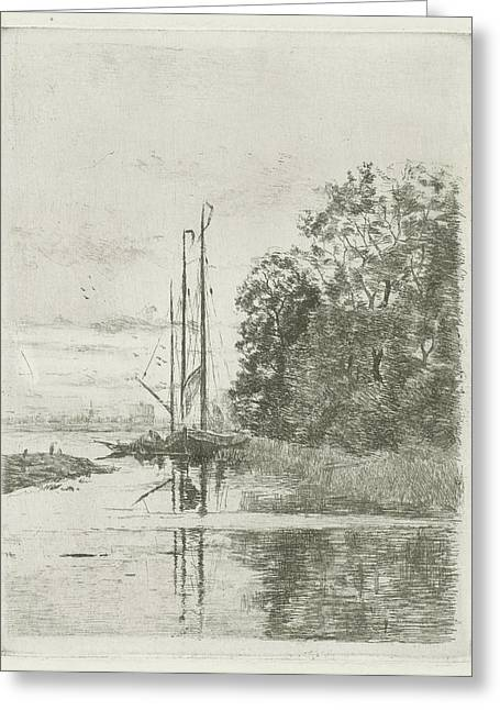 River View With Two Ships And A Barge, Fredericus Jacobus Greeting Card by Fredericus Jacobus Van Rossum Du Chattel