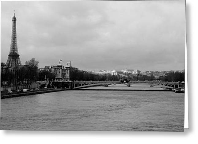 River With A Tower In The Background Greeting Card by Panoramic Images