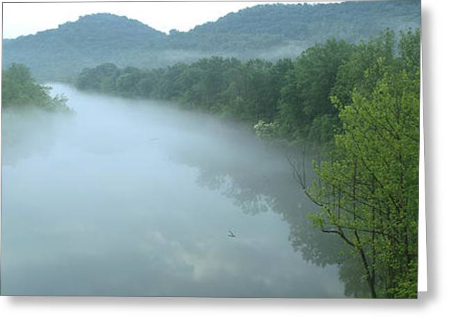 River With Mountains In The Background Greeting Card by Panoramic Images