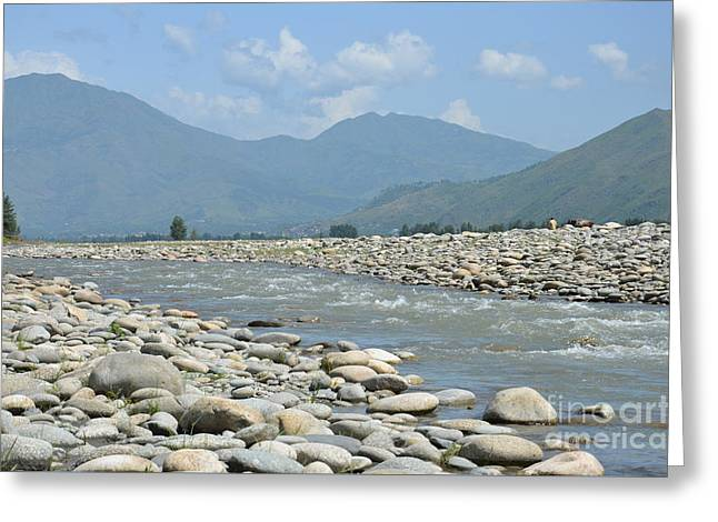 Riverbank Water Rocks Mountains And A Horseman Swat Valley Pakistan Greeting Card