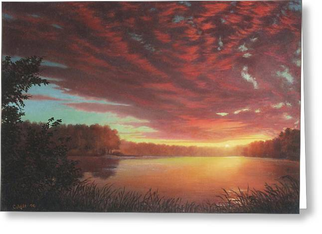 Riverbend Sunset Sky River Landscape Oil Painting American Yellow Pink Orange Greeting Card by Walt Curlee