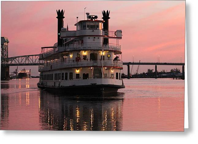 Riverboat At Sunset Greeting Card by Cynthia Guinn