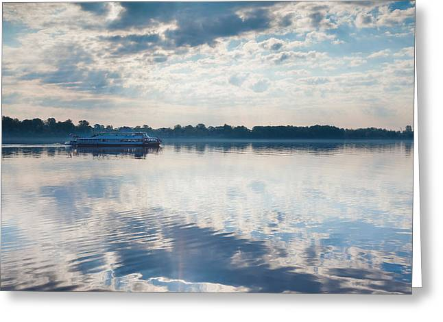Riverboat In River, Volga Riverfront Greeting Card