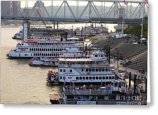 Riverboat Row Greeting Card by Mel Steinhauer