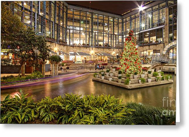 Rivercenter Christmas Tree At The Riverwalk - San Antonio Texas Greeting Card by Silvio Ligutti
