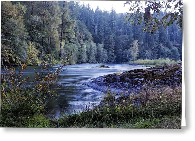 Riverflow At Dusk Greeting Card by Belinda Greb