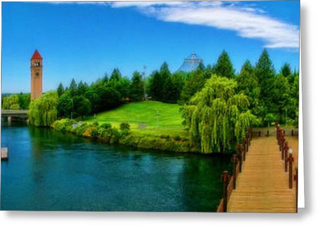 Riverfront Park Clean Pano Greeting Card by Dan Quam