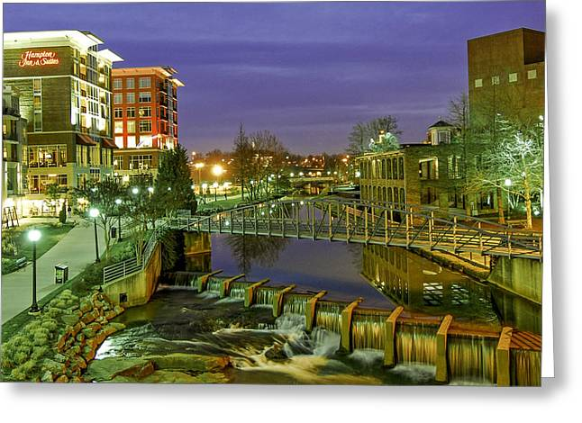 Riverplace And Art Crossing At Sunset In Downtown Greenville Sc Greeting Card