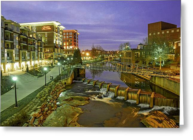 Riverplace In Downtown Greenville Sc At Twilight Greeting Card