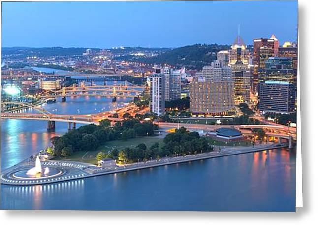 Rivers Bridges And Skyscrapers In Pittsburgh Greeting Card