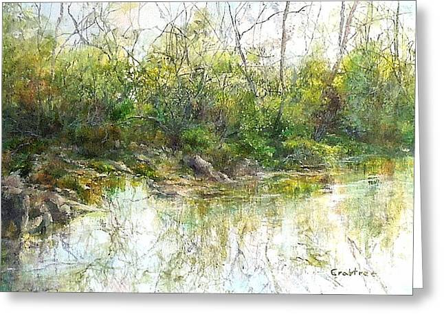 River's Edge Greeting Card by Elizabeth Crabtree