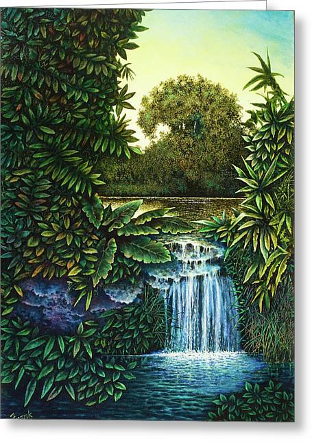 Greeting Card featuring the painting River's Edge by Michael Frank