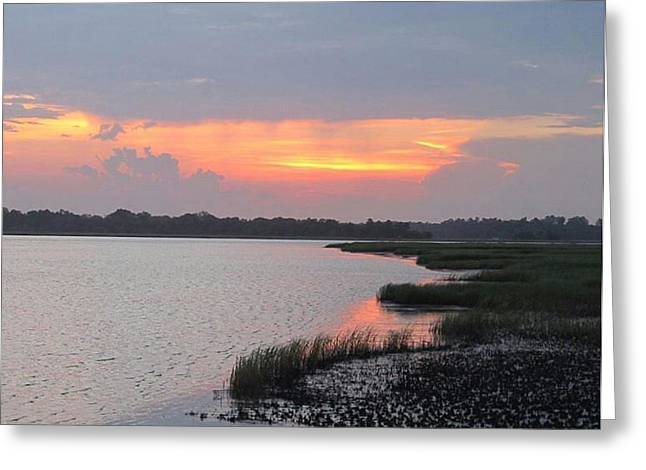 Greeting Card featuring the photograph River's Edge Sunset by Joetta Beauford
