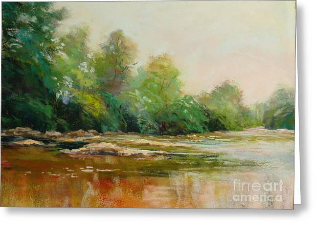 River's Edge Greeting Card by Virginia Dauth