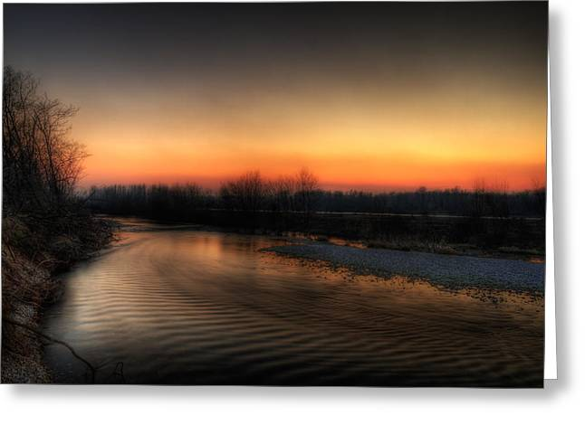 Riverscape At Sunset Greeting Card