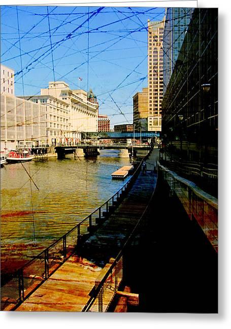 Riverwalk And Painted Board Greeting Card by Anita Burgermeister