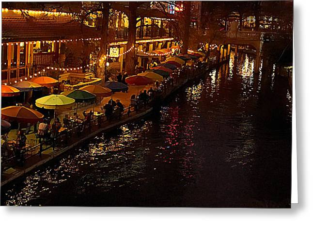 Riverwalk Night Greeting Card