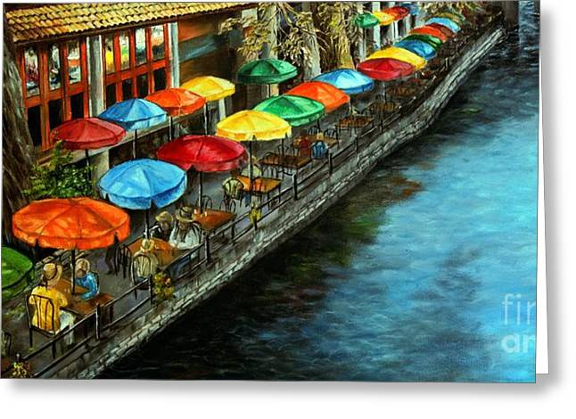 Riverwalk San Antonio Greeting Card by Anna-maria Dickinson
