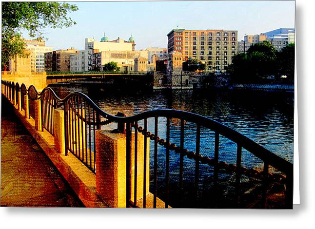 Riverwalk Waves Greeting Card by Anita Burgermeister