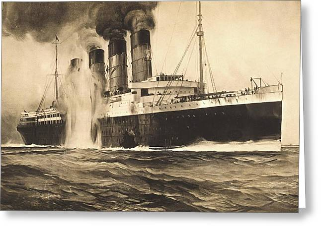 Rms Lusitania Being Torpedoed Greeting Card by Library Of Congress