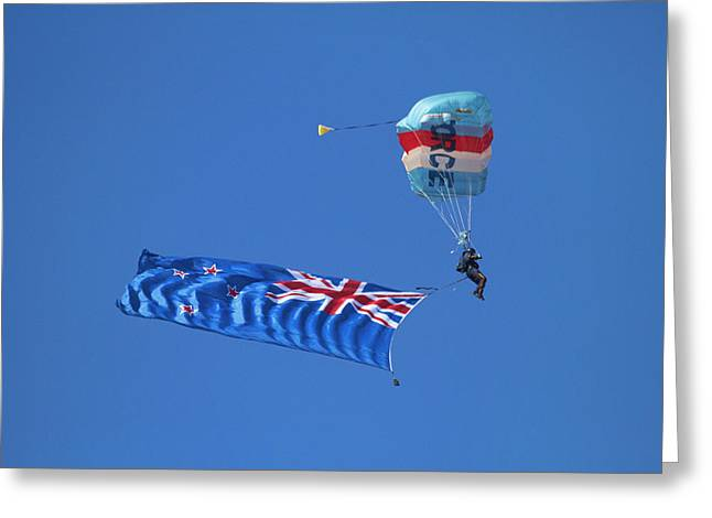 Rnzaf Sky Diver And New Zealand Flag Greeting Card by David Wall